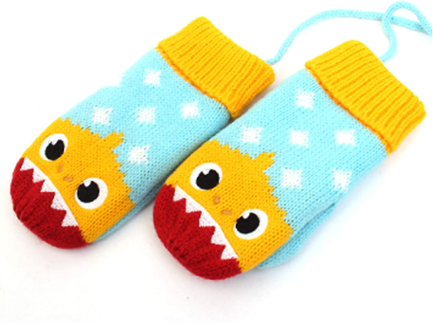 Kidsnory Babyshrk Mittens Knit Kids Cold Weather Gloves Warm Winter Mittens for Little Boys and Girls, Yellow