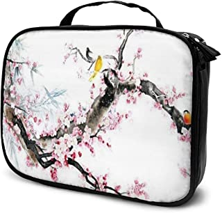 Cosmetic Bag Vintage Flowers And Birds Makeup Bag Lightweight Portable Cosmetic Case Water Resisted Cosmetic Makeup Bag Durable Organizer Makeup Boxes With Insulated Pockets For Travel