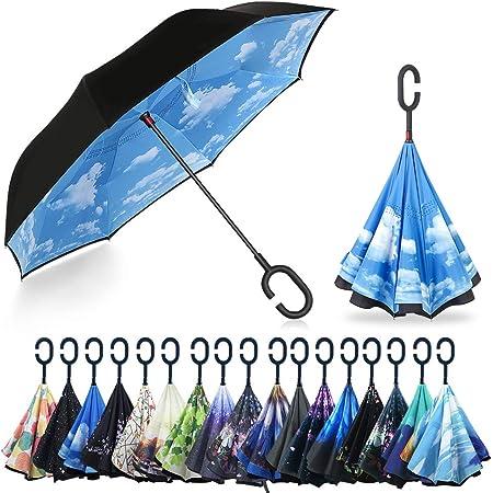 YOKITOMO 長傘 逆さ傘 丈夫 撥水 内外2枚の布の構成で耐風 熱中症対策 完全遮光 遮熱効果 閉じると自立可能 晴雨兼用 車用 (青空)人気ギフト