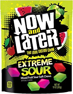 Now & Later Extreme Sour Fruit Chews Assorted, 10 Ounce Bag, 6 Count