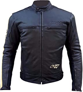 BIESSE - Chaqueta de piel para moto Racing/Touring, estilo vintage, desmontable, chaleco térmico extraíble, color negro y blanco, tallas XS - 4XL, con protecciones CE Small Negro