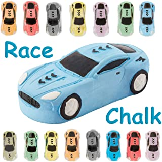 15 Jumbo Race Car Sidewalk Chalk ~ Party Favors Goody Bag Pack ~ Birthdays, Easter, Christmas & More ~ Individually Wrapped ~ Washable ~ Beautiful Gift Box ~ by KINIA (Race Car Multicolor)