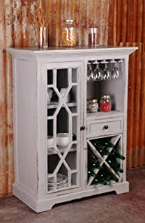Sunset Trading Shabby Chic Cottage Wine Server, Distressed antique grey