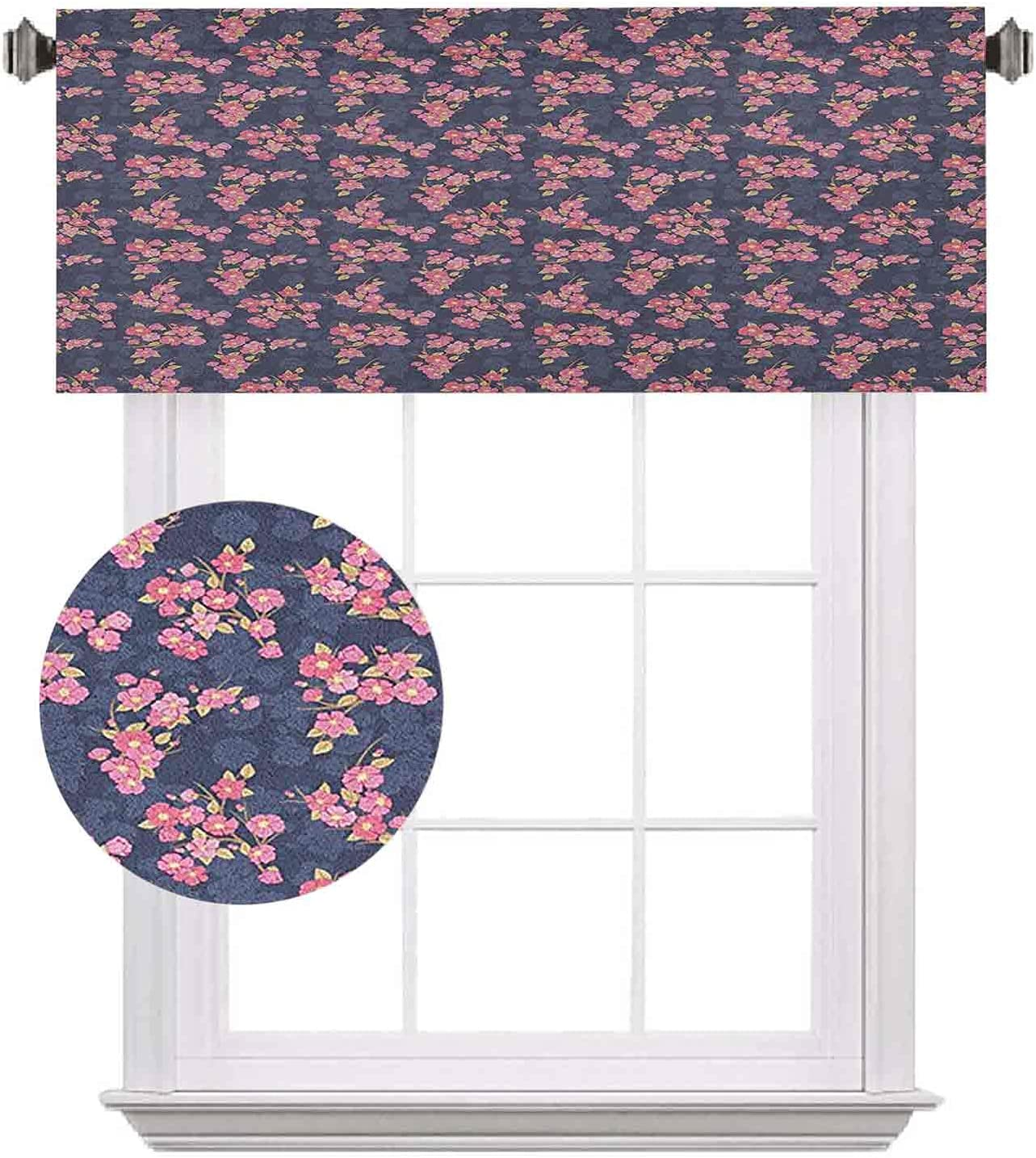 Cherry Max 77% OFF Blossom Short Valances Culture At the price Flora Chinese Traditional