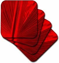 3dRose Florene Fan in Red Ceramic Tile Coaster, Set of 4