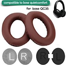 Replacement Ear Pads for Bose Headphone,Wadeo Earpads Ear Cushion Kit Memory Foam Cups Cover Compatible for QC35 QuietComfort 35,Inner Foam Mats,1 Pair Brown