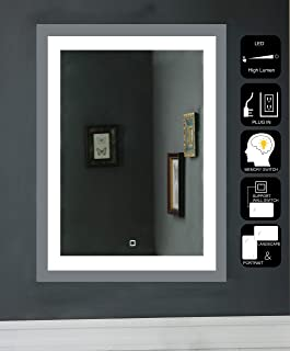 JOVOL LED Lighted Bathroom Mirror Wall Mounted Vanity Mirror with High Lumen CRI>90 Memory Touch Button Vertical & Horizontal Installation (Atlantis-2432 24x32 inch)