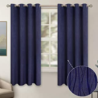 BGment Embossed Blackout Curtains for Bedroom - Grommet Thermal Insulated Room Darkening Curtains for Living Room, 52 x 63 Inch, Set of 2 Panels, Navy Blue