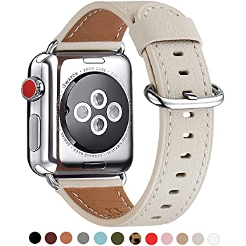 WFEAGL Apple Watch Band 38mm, Retro Top Grain Genuine Leather Band Replacement Strap with Stainless Steel Clasp for iWatch Series 3,Series 2,Series 1,Sport, Edition (Ivory White Band+Silver Buckle)