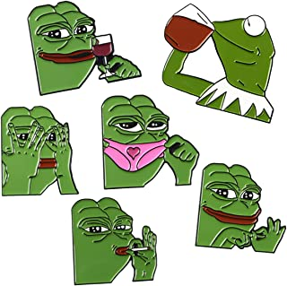 Lilbetter-Club 6-7 Pack of Enamel Pin Kermit Sipping Tea Pepe Frog Emoticon Lapel pin Brooch Hat Pin Internet Meme for Women Girls