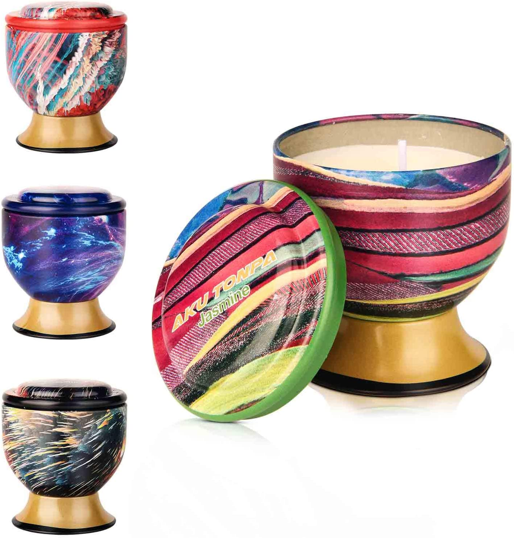 Aku Tonpa Paquete de 4 velas perfumadas de 115 gramos, cera de soja aromaterapia, juego de regalo para mujeres (vainilla, lavanda, limón, jazmín)