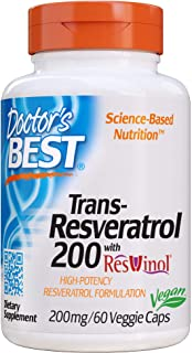 Doctor's Best, Trans-Resveratrol with ResVinol, Non-GMO, Vegan, Gluten Free, Soy Free, 200 mg, 60 Veggie Caps