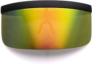 Futuristic Oversize Shield Visor Sunglasses Flat Top Mirrored Mono Lens 172mm