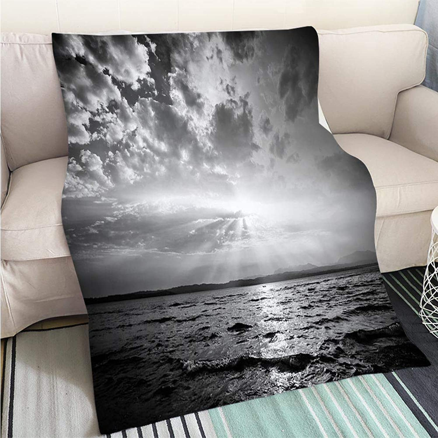 Art Design Photos Cool Quilt Lake at Sunset Hypoallergenic Blanket for Bed Couch Chair