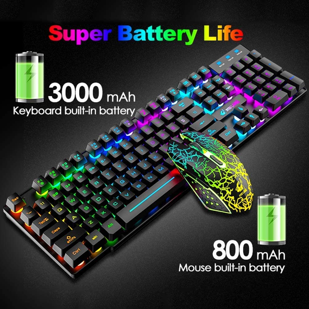 Wireless Gaming Keyboard and Mouse,Rechargeable Rainbow Backlit Keyboard Mouse with 3800mAh Battery,Mechanical Feel Gaming Keyboard,7 Color Gaming Mute Mouse,Gaming Mouse Pad for PC Gamers(Black)