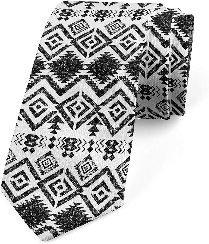 Lunarable Necktie, Geometric Aztec Ornament, Dress Tie, 3.7