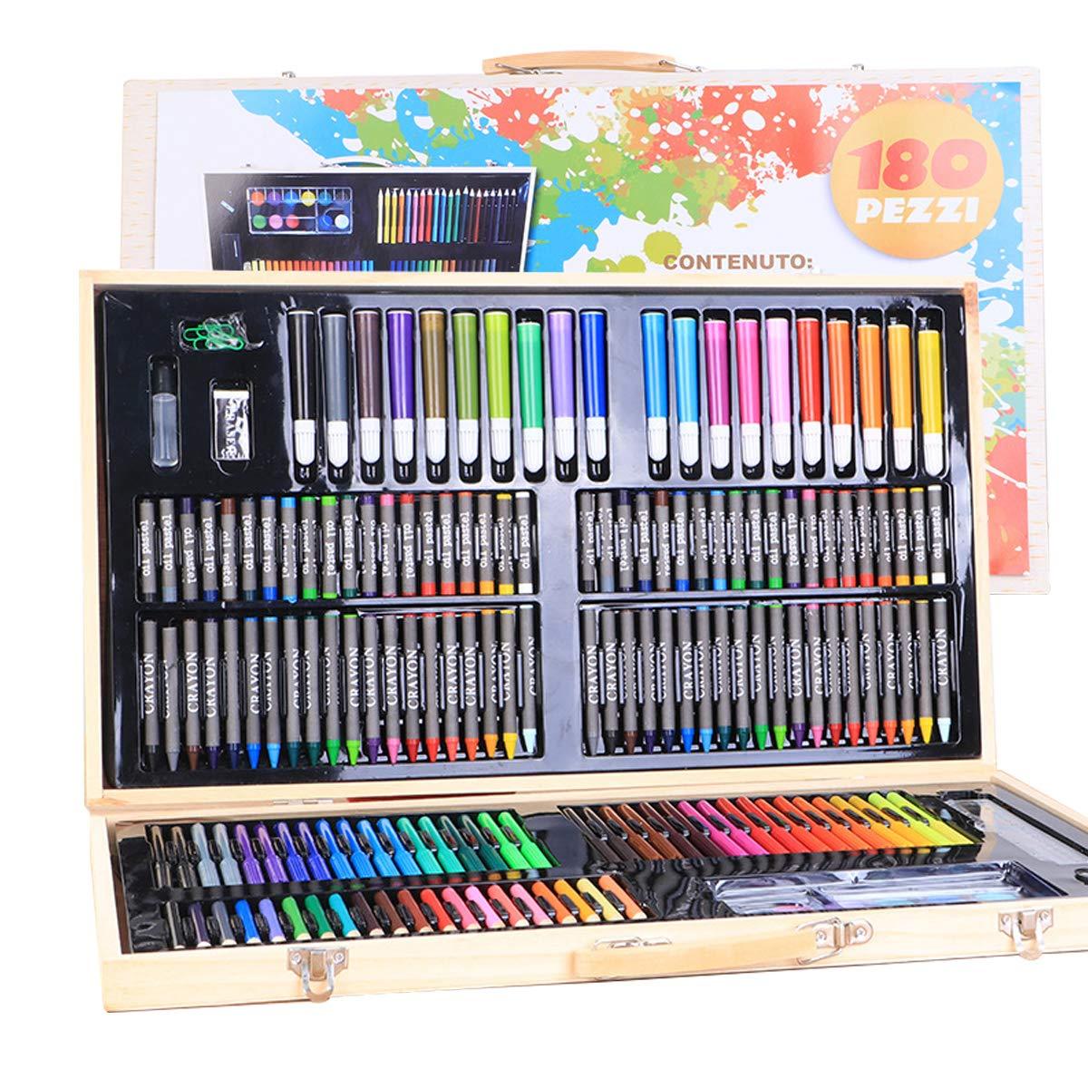 AllRing - Juego de 180 lápices de Colores para niños, Ceras, Acuarelas, Pasteles, rotuladores, borradores, Libros de Colorear en práctico maletín para Pintar - Muy Buen Regalo para niños: Amazon.es: Hogar
