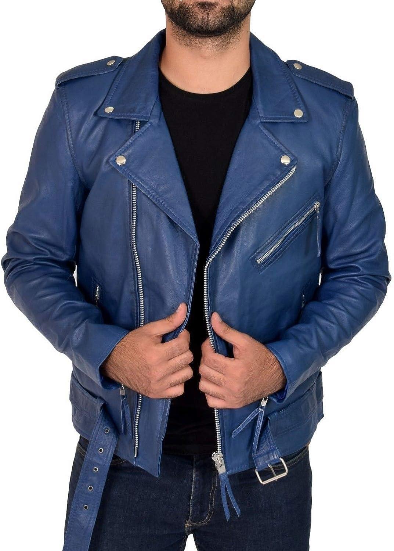 Mens Leather Jackets Motorcycle Bomber Biker Dark Blue Real Leather Jacket Men