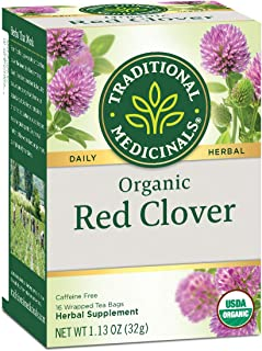 Traditional Medicinals Organic Red Clover Herbal Tea, 16 Tea Bags (Pack of 6) (packaging may vary)