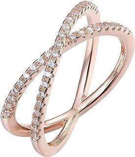 PAVOI 14K 镀金 X 仿钻方晶锆石女士十字交叉戒指