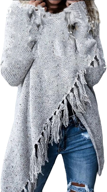 GAGA Women's Long Sleeve Speckled Fringe Hem Open Front Cardigan Sweaters