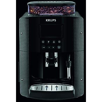 Krups Essential Machine à Café à Grain Machine à Café Broyeur Grain Cafetière Expresso Ecran LCD Nettoyage Automatique Buse Vapeur Cappuccino Noire YY8135FD