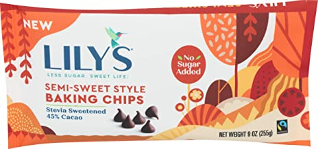 LILYS CHOCOLATE 45% Cacao Semi-Sweet Style Baking Chips, 9 OZ
