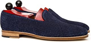 Costoso Italiano Braided Navy Blue Suede Formal Slip On Shoes for Men