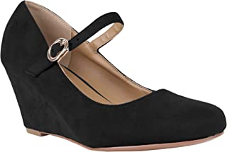 Syktkmx Womens Mary Jane Wedges Pumps Ankle Strap Closed...