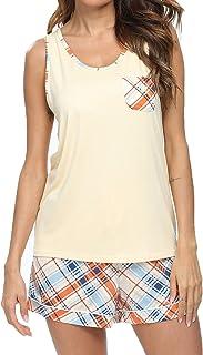 Pajama Sets Women Cotton Top Sleepwear, Short Plaid Bottoms Nightgowns
