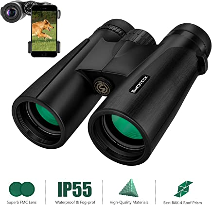 Binoteck 12x42 Binoculars for Adults Clear Weak Light Vision Compact HD Binoculars for Bird-Watching Travel Hunting Concerts Opera Sports Bak4 Prism Fmc Lens with Phone Mount Strap Carrying Bag
