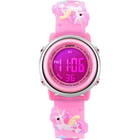 Kids Watches Girl Watches Ages 3-12 Sports Waterproof 3D Cute Cartoon Digital 7 Color Lights Wrist Watch for Kids…