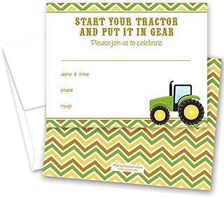 24 Green Tractor Multi Chevron Fill-in Kids Birthday Party Invitations