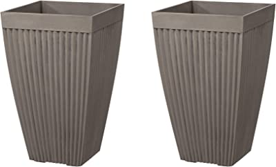 """Glitzhome GH20293 Modern Decor Faux Concrete Tall Planters 22.75"""" H Gardening Containers Flower Pots Indoor Outdoor Use (Set of 2), Gray"""