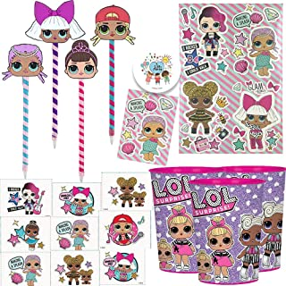 LOL Surprise Birthday Party Favors Pack For 8 Guests With LOL Pens, Removable Tattoos, Stickers, Favor Cups and Exclusive Birthday Pin