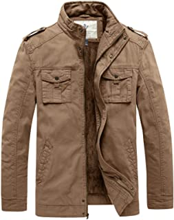 WenVen Men's Stand Collar Casual Cotton Fleece Lined Thicken Military Jacket