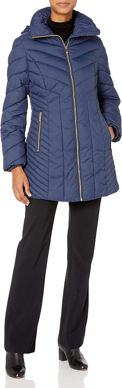 Anne Klein Women's Wing Collar Chevron Quilting Coat with Hood
