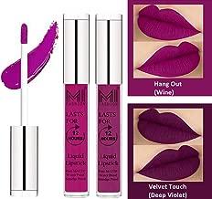 MI Fashion Liquid Matte Lipsticks For Women Long Lasting Waterproof Made in India Wine and Violet Matte Liquid Lipsticks Set of 2
