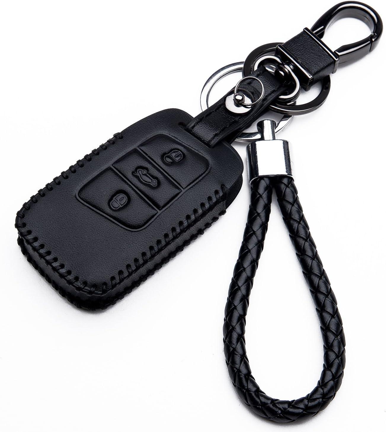 Cuero estuche funda para VW Polo Passat b8 Touran Sharan clave tras vívido!