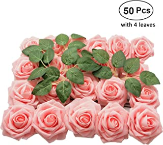 Lmeison Artificial Flower Rose, 50pcs Real Looking Pink Roses w/Stem for DIY Wedding Bouquets Centerpieces Bridal Baby Shower Party Home Décor