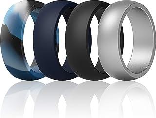 خواتم من السيليكون للرجال من ثاندرفيت - 7 خواتم / 4 حلقات / خاتم واحد - خط متوسط وكلاسيكي - عرض 8.7 مم - سمك 2 مم