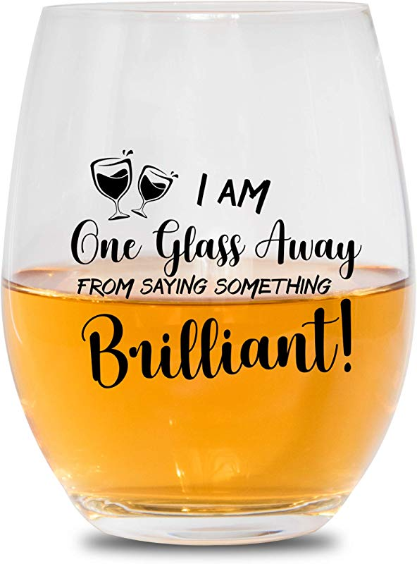 Vino O Clock I Am One Glass Away From Saying Something Brilliant Stemless Wine Glass Funny Wine Lover Gift