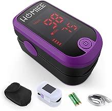 HOMIEE Oxímetro de Pulso, Pulsioxímetro Profesional para Dedo, Medidor de Oxígeno en Sangre SpO2 y Monitor de Frecuencia Cardíaca para Uso Deportivo, Adultos y Niños (LCD Púrpura)