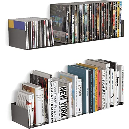 """Livzing 24"""" Floating Heavy Metal Book Shelf – Wall Mount Rack –CD DVD Display Storage Bookcase for Home Decor Items ( Set of 2, Black )"""