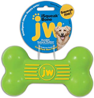 JW Pet Company iSqueak Bone Rubber Dog Toy, Medium, Colors Vary