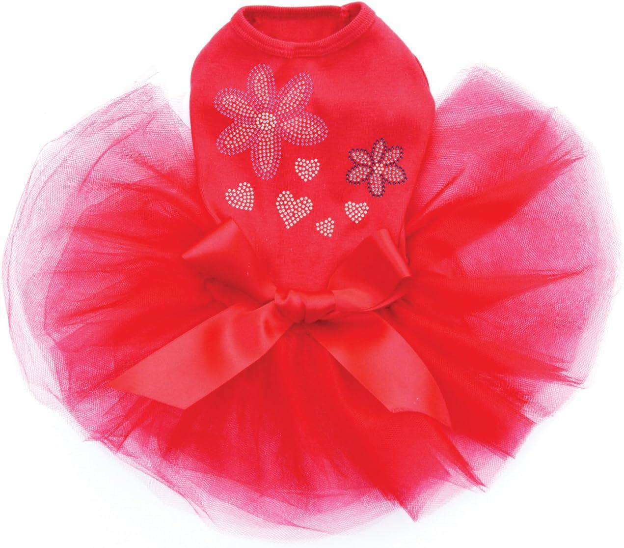 Pink Purple Flowers - Bling Rhinestone 3XL Max 74% OFF Large-scale sale Dog Dress Red Tutu