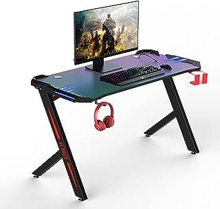 Bureau Gaming, 120 x 60 x 74 cm Ergonomic Bureau Gamer, Gaming Desk pour Bureau à Domicile avec Grand Tapis de Souris Port...