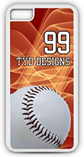 iPhone 6s Plus Baseball Case Fits iPhone 6s Plus or iPhone 6 Plus Make Your Own Photo Design Tough Cell Phone Case with Any Jersey Number Team Name in White Plastic Black Rubber B1061 by TYD Designs