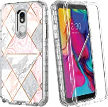 LOVEMECASE LG Stylo 5 Case, Full-Body Glitter Marble Bumper 3 in 1 Heavy Duty Hybrid Sturdy Armor Defender High Impact Shockproof Protective Cover Case for LG Stylo 5+ Phone(Shiny Marble)