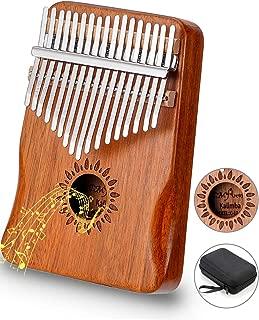 カリンバ 17キー 親指ピアノ Kalimba アフリカ楽器 操作簡単 初心者向け アカシア木製(KOA) ナチュラル C 調 音調調節可能 チューナーハンマー 収納バッグ付き